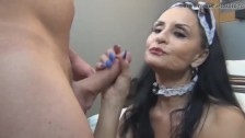 French Maid Cougar With Young Stud